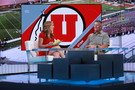 Utah head coach Kyle Whittingham visits with ESPN talent on the SportsCenter set in Bristol, CT.