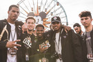 Members of the Washington football team pose for a picture during a visit to Disneyland.