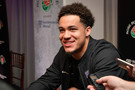 Washington defensive back Byron Murphy smiles after answering a question during Media Day in Pasadena.