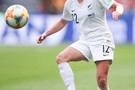June 11: Former Cal player Betsy Hassett plays a ball in New Zealand's 0-1 loss to The Netherlands