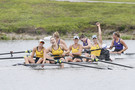 Cal celebrates a massive win over Washington, last year's defending champs, in the Fours Grand Final that solidified a NCAA Rowing Championship win for the Golden Bears.