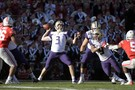 Washington quarterback Jake Browning drops back for a pass during the first half.
