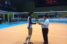 <p>USC's Samantha Bricio was given a glass stauette for beging named player of the game Wednesday in Beijing</p>