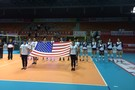 <p>The Pac-12 all-stars pause before the match Wednesday in Beijingduring the national anthem.</p>
