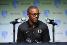 <p>Oregon head coach Willie Taggart</p>