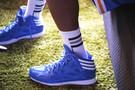<p>UCLA Bruins sophomore guard-foward Kyle Johnson's Adidas kicks.</p>