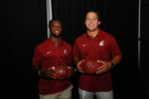 <p>Washington State's Jamal Morrow and Peyton Pelluer </p>