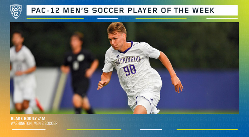 UW's Blake Bodily named Pac-12 Men's Soccer Player of the Week