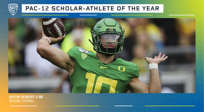 Oregon's Herbert named Pac-12 football Scholar-Athlete of the Year