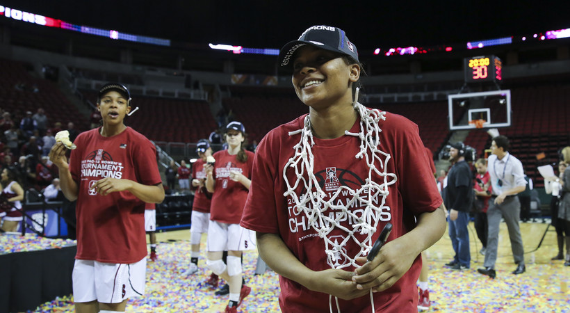 Stanford women's basketball celebrates program's 11th Pac-12 Tournament championship