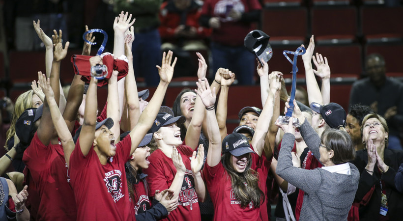 2017 Pac-12 Women's Basketball Tournament: Stanford celebrates winning tournament crown