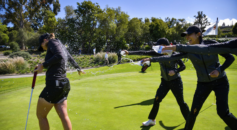 2019 Pac-12 Women's Golf Championships: Sun Devils shower ASU's Olivia Mehaffey following her Pac-12 Individual title win