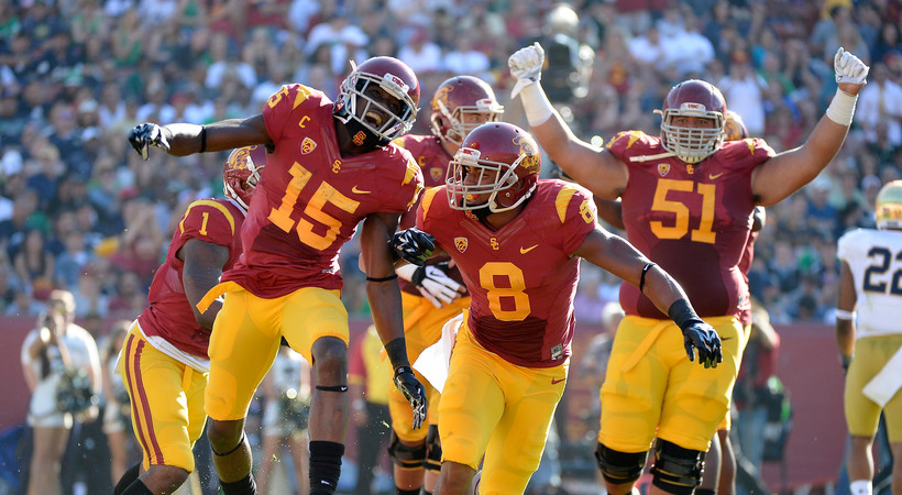 """<ul><li><a href=""""http://pac-12.com/videos/highlights-cody-kesslers-six-touchdown-passes-help-usc-football-trounce-notre-dame"""">USC worked Notre Dame at the Coliseum on Saturday</a>, reclaiming theJeweled Shillelagh after two consecutive losses to the Irish</li> <li><a href=""""http://pac-12.com/article/2014/11/29/cody-kessler-usc-vs-notre-dame"""">Cody Kessler threw for six touchdown passes</a>, making him the first player <em>ever </em>to do so against Notre Dame</li> <li><a href=""""http://pac-12.com/article/2014/11/29/usc-defense-dominates-against-notre-dame"""">USC's defense stifled both ND quarterbacks</a>, allowing them to combine for only 16 of 38 passes</li> </ul>"""