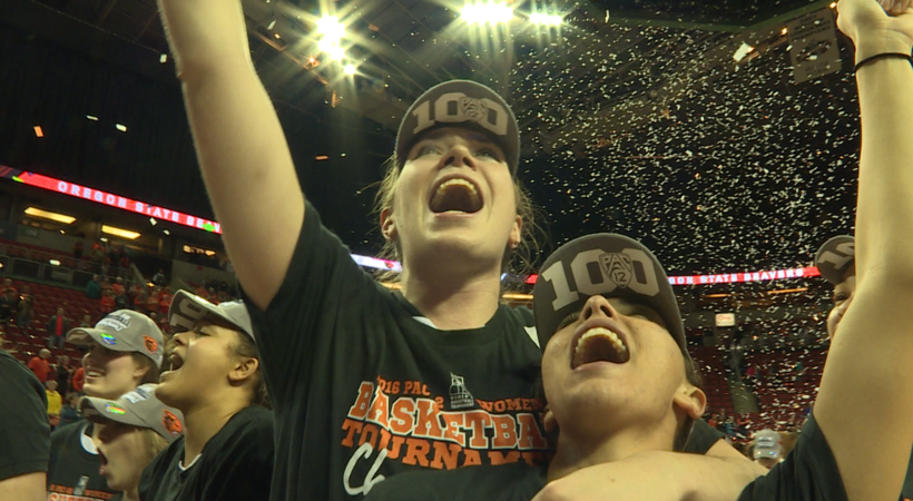Oregon State women's basketball celebrates program's first Pac-12 Tournament title