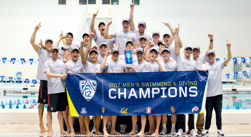Stanford wins the 2017 Pac-12 Men's Swimming Championship title