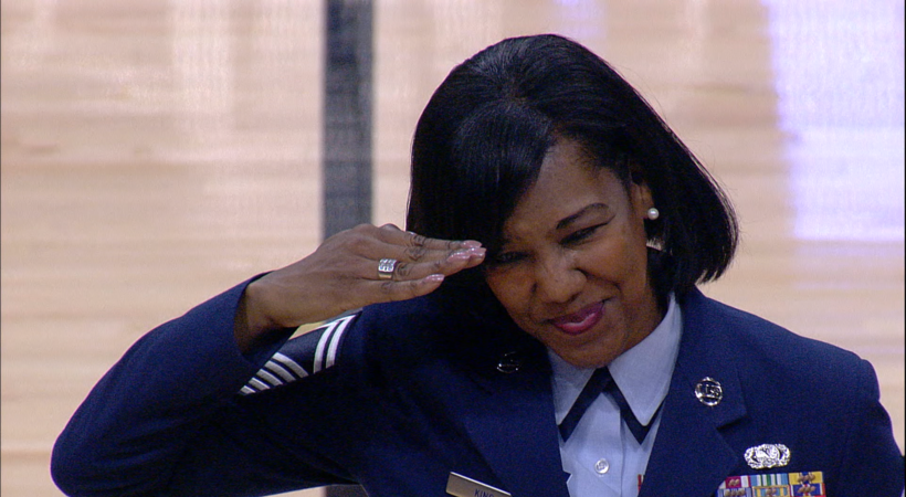 George King's mom promoted to Chief Master Sergeant and honored during Colorado's halftime on Veteran's Day