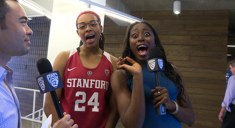 Chiney Ogwumike and Erica McCall at 2015 Pac-12 Women's Basketball Media Day
