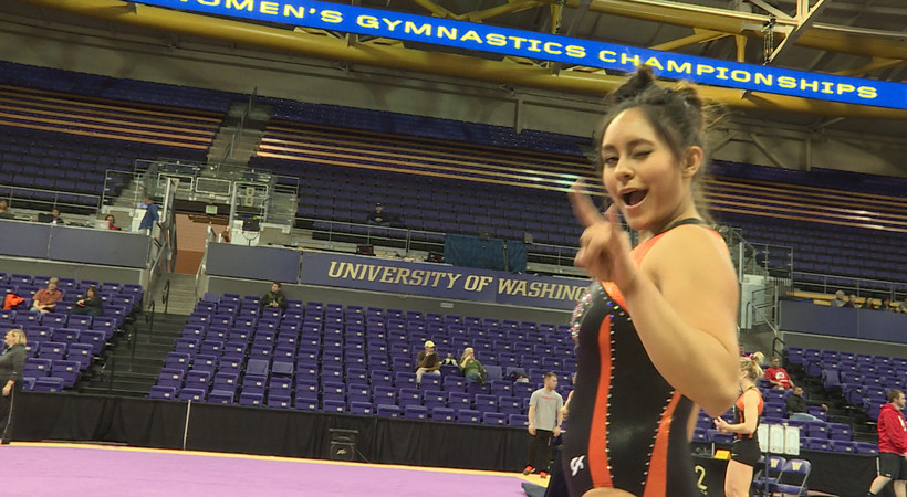 Pac-12 gymnasts are all smiles at 2016 Women's Gymnastics Championship practice session