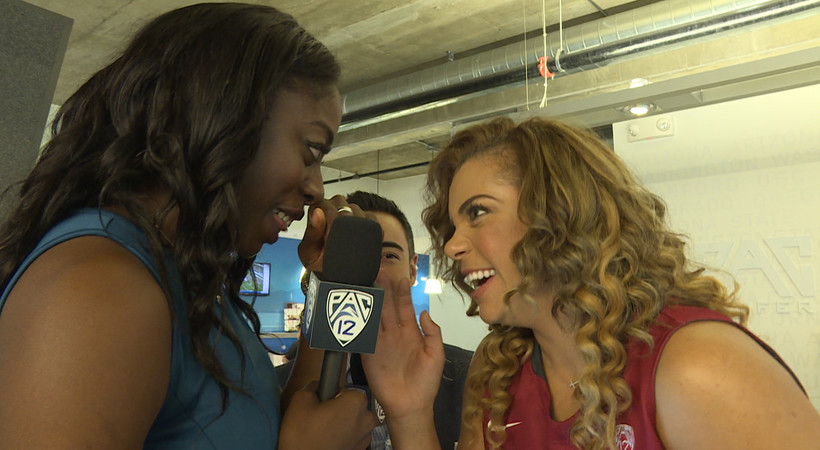 2015 Pac-12 Women's Basketball Media Day: Washington State's Mariah Cooks does solid June Daugherty impression