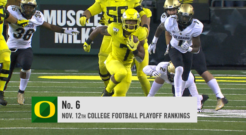 Oregon rises to No. 6 in latest College Football Playoff rankings