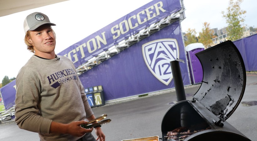 Andrew Morrison treats his Washington men's soccer teammates to BBQ feast