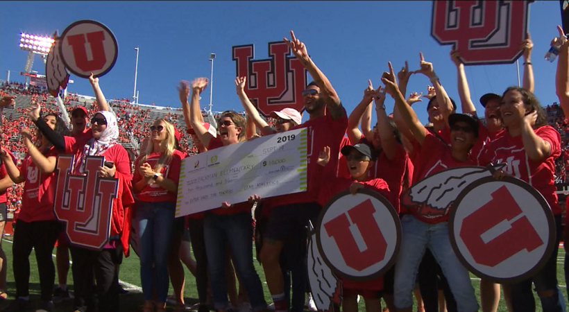 Utes celebrate Backman Elementary with generous check during Extra Yard for Teachers Week