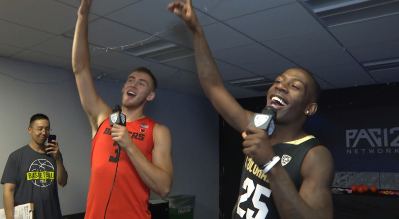 OSU's Tres Tinkle, CU's McKinley Wright IV perform karaoke duet at Pac-12 Men's Basketball Media Day