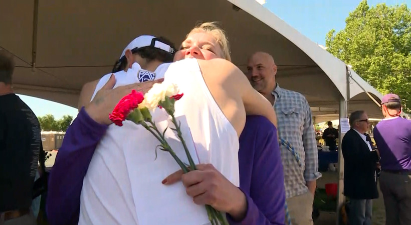 2018 Pac-12 Rowing Championships: Washington's Mason Pollock celebrates Mother's Day with former rower mom
