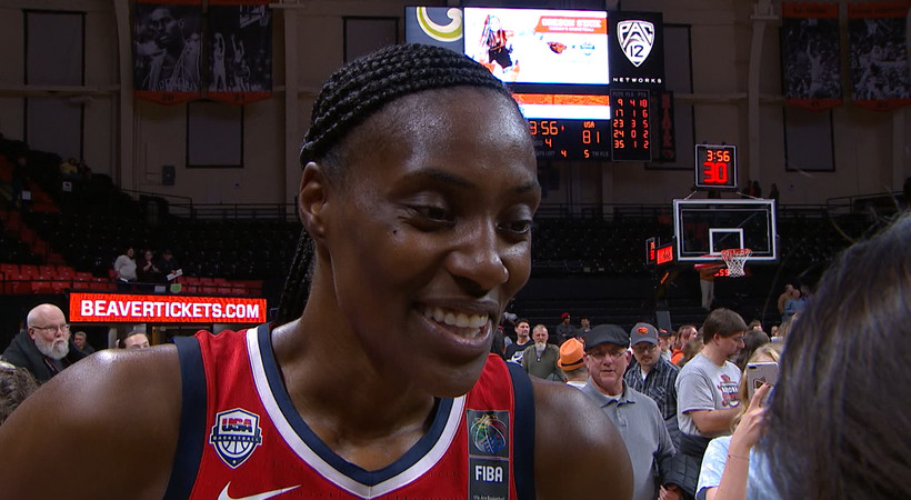 Oregon State's young interior made USA Women's Sylvia Fowles 'feel small all night'
