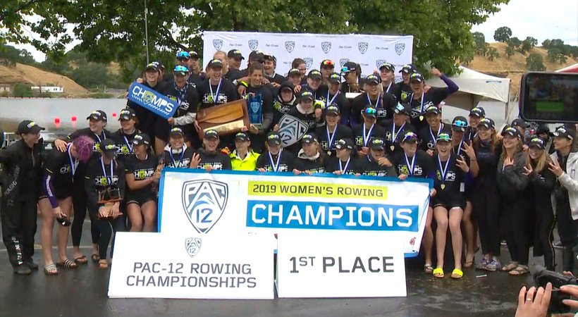 Washington women's rowing celebrates its third consecutive Pac-12 Championship
