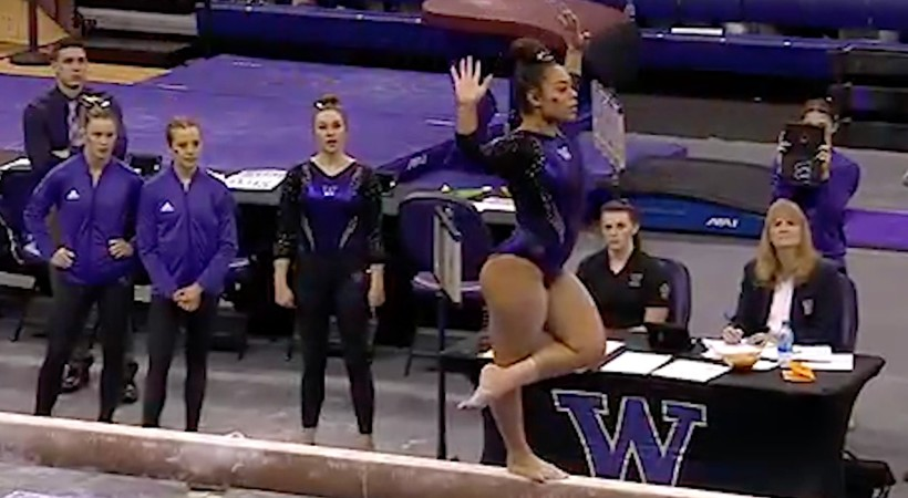 Washington's Evanni Roberson scores the first perfect 10 on beam in program history