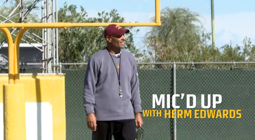 'Boy, I wish I was still playing': ASU's Herm Edwards gets mic'd up for football practice
