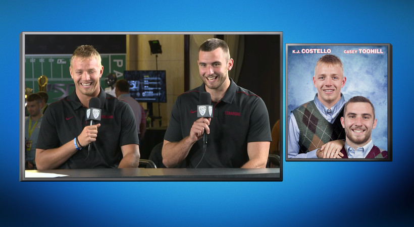2019 Pac-12 Football Media Day: Stanford's K.J. Costello, Casey Toohill have a hilarious reaction to Stanford's version of a 'Step Brothers' movie poster