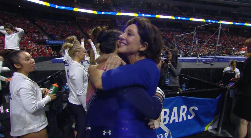 UCLA women's gymnastics celebrates its second straight Pac-12 Championship title