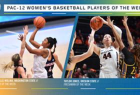 Pac-12 Women's Basketball Players of the Week: Chanelle Molina, Washington State (Player), Taylor Jones, Oregon State (Freshman).