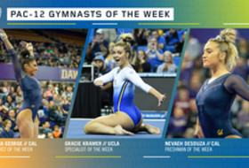 Cal's George, DeSouza, and UCLA's Kramer earn the Pac-12 gymnasts of the week awards
