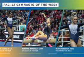 Cal's George, DeSouza, and Utah's Randall earn the Pac-12 gymnasts of the week awards