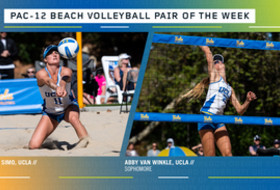 UCLA's Savvy Simo and Abby Van Winkle named Pac-12 Beach Volleyball Pair of the Week for March 10.