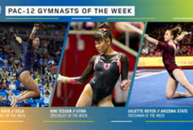 UCLA's Ross, Utah's Tessen and Arizona State's Boyer earn the Pac-12 gymnasts of the week awards