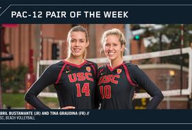Pac-12 Beach Volleyball Pair of the Week Abril Bustamante and Tina Graudina, USC