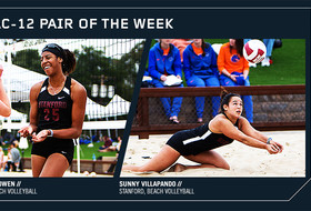Stanford beach volleyball pair Courtney Bowen and Sunny Villapando
