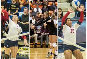 <p>Sept. 23 volleyball players of the week. Arizona's Madi Kingdon, Oregon State's Becky Defoe, and Arizona's Penina Snuka (L-R).</p>