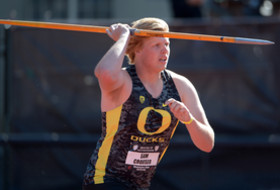 Oregon's Sam Crouser at 2014 Pac-12 Track & Field Championships