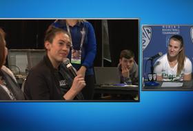 Seattle Storm star Breanna Stewart asks Oregon women's basketball team questions following win