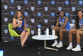 2018 Pac-12 Women's Basketball Media Day: UCLA's Cori Close, Kennedy Burke, Lajahna Drummer