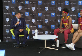 2018 Pac-12 Women's Basketball Media Day: USC's Mark Trakh, Minyon Moore, Aliyah Mazyck