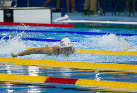 Dana Vollmer (CAL) swimming in the 100-meter butterfly heat at the Rio Olympics (2016)
