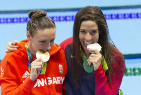 Katinka Hosszu and Maya DiRado celebrate their 400m IM gold and silver medals in Rio.