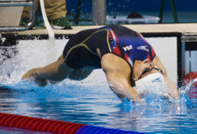USA's Kathleen Baker in the 100m backstroke at the Rio Olympics.