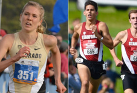 Colorado cross country's Erin Clark and Stanford's Grant Fisher and Sean McGorty
